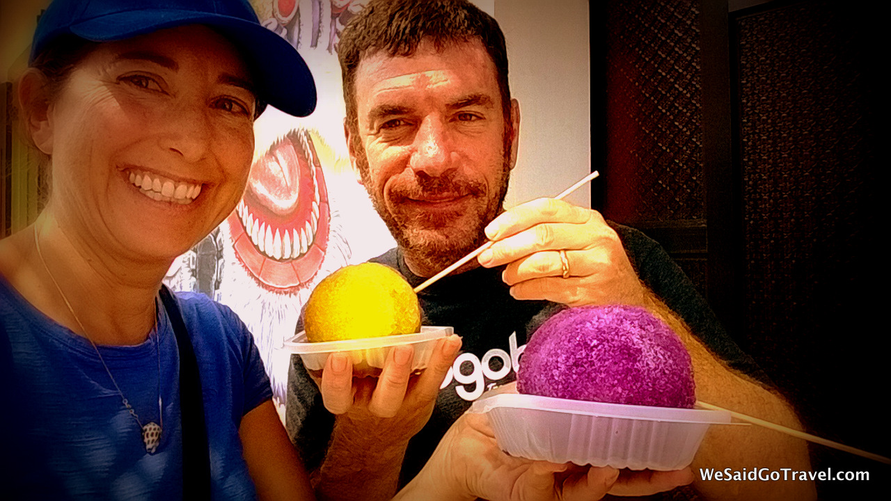 Lisa and George eating Ice Balls on Armenian St, Penang