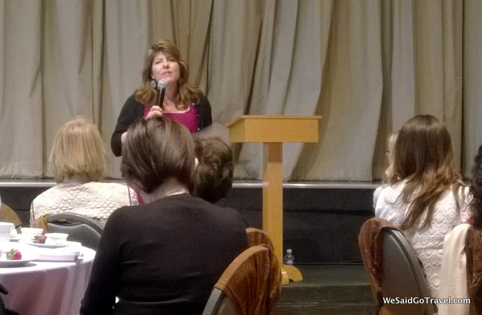 Naomi Wolf speaking at Stephen S. Wise Temple Library Lunch