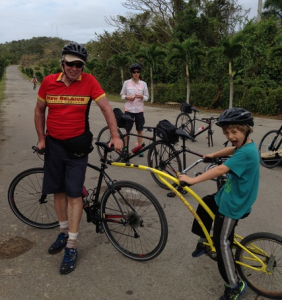 Richard Bangs and family biking in Cuba