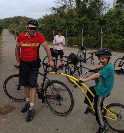 Richard Bangs and family biking in Cuba