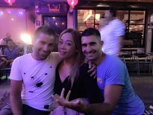 Sebastien Regina and Stefan having a drink at Balcony gay bar in Silom, Thailand February 2014