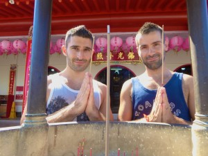 Stefan and Sebastien at the Puu Jih Syh Temple, Sandakan, Sabah, Malaysia Borneo, August 2015