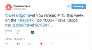 Lisa Niver is #13 out of 1000+ Travel Sites!